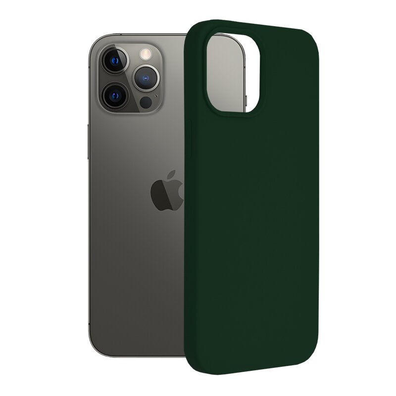 Husa iPhone 12 Pro Max Techsuit Soft Edge Silicone, verde inchis