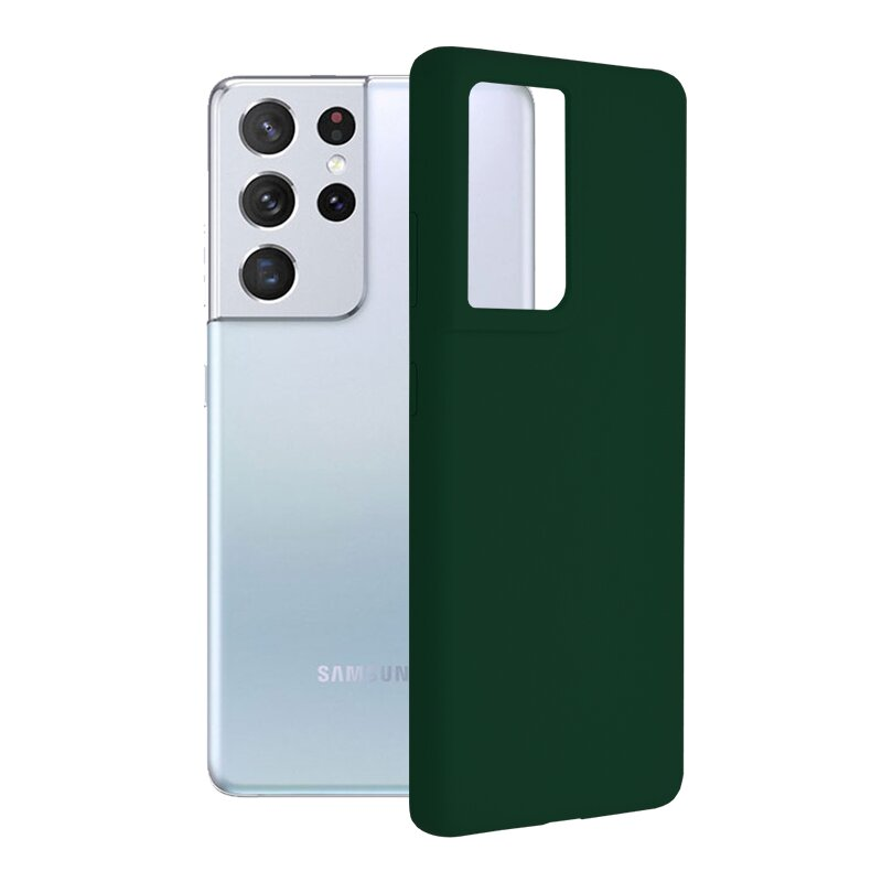 Husa Samsung Galaxy S21 Ultra 5G Techsuit Soft Edge Silicone, verde inchis