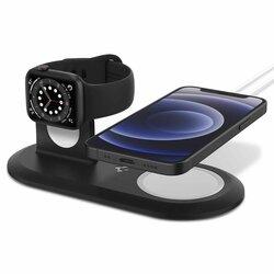 Suport birou incarcator iPhone 12 wireless MagSafe, Apple Watch Spigen, negru