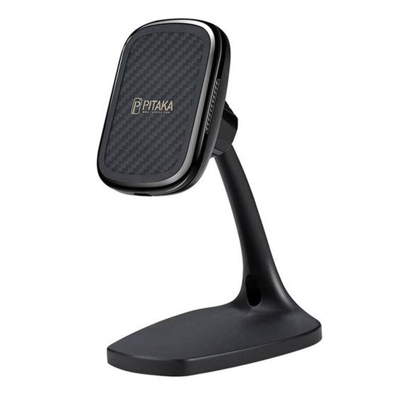 Suport telefon birou Pitaka MagEZ Qi cu incarcare wireless iPhone 12, negru