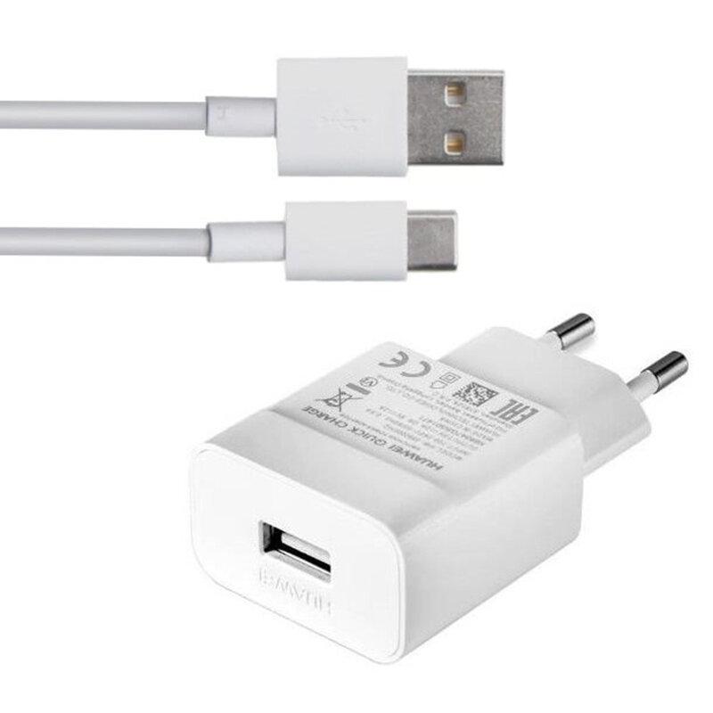 Incarcator priza Huawei original, cablu de date USB la Type-C, 2A, 1m, alb, bulk, HW-090200EH0