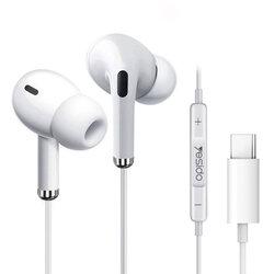 Casti cu fir in-ear Yesido YH35, stereo, microfon, Type-C, 1.2m, alb
