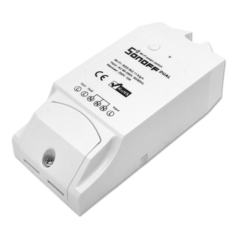 Releu wireless Sonoff Dual R2, Wi-Fi IoT, 2 canale, 10A, alb