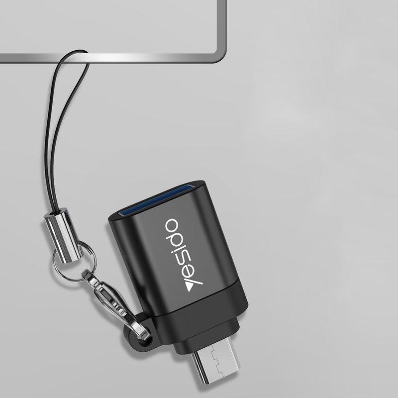 Adaptor USB la Micro-USB OTG Yesido GS07, plug & play, 5Gbps, negru