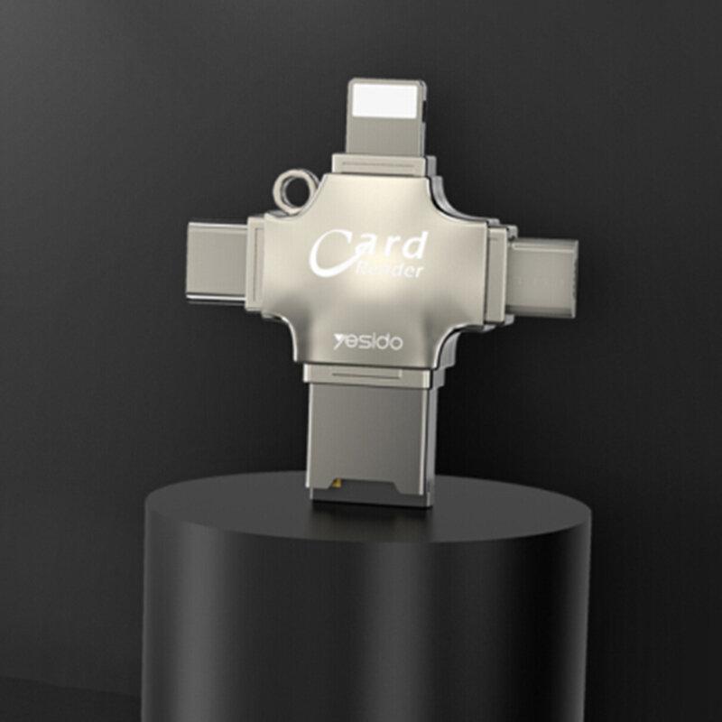 Adaptor USB, Type-C, Lightning, Micro-USB, card reader MicroSD Yesido GS13, argintiu