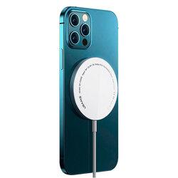Incarcator iPhone 12 wireless MagSafe USAMS, 15W, alb, US-CD155