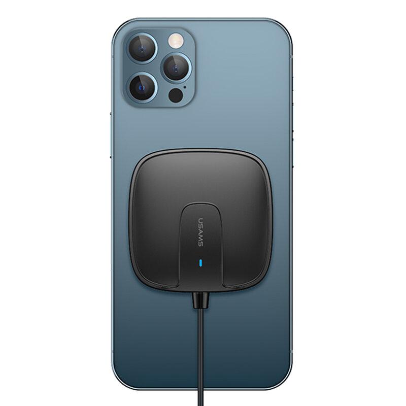 Incarcator wireless iPhone 12 MagSafe USAMS W1, 15W, negru, US-CD159