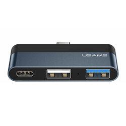 Hub Type-C OTG USAMS la 2x USB, Type-C, 60W, gri, US-SJ490