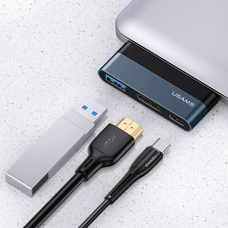 Hub Type-C OTG USAMS la USB, Type-C, HDMI, 60W, gri, US-SJ492