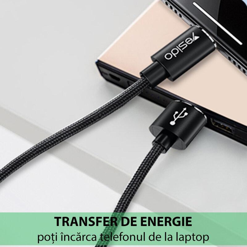 Cablu de date USB la Lightning Yesido CA57, 2.4A, 1.2m, negru