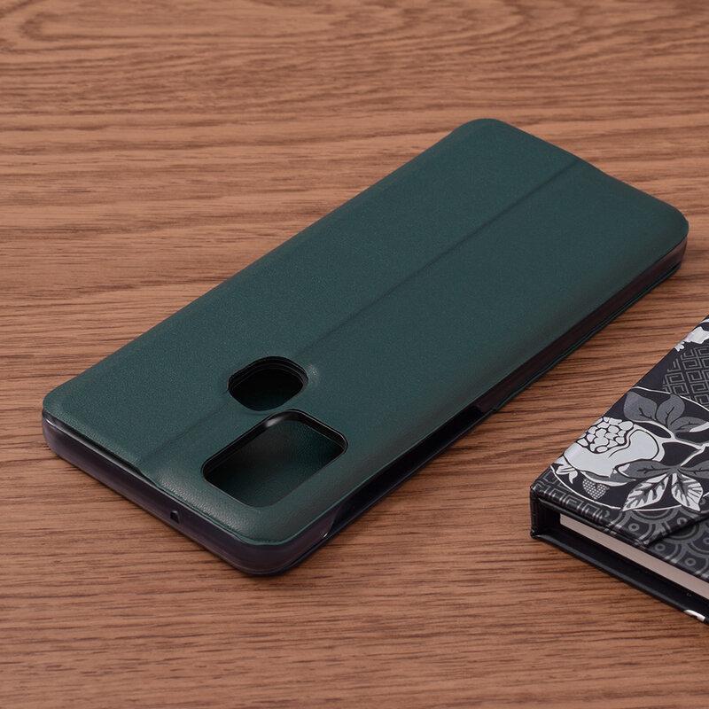 Husa Samsung Galaxy A21s Eco Leather View Flip Tip Carte - Verde
