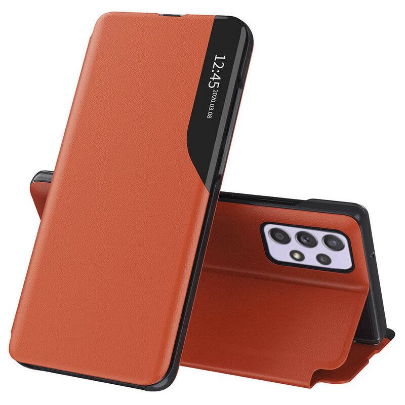 Husa Samsung Galaxy A72 5G Eco Leather View Flip Tip Carte - Portocaliu