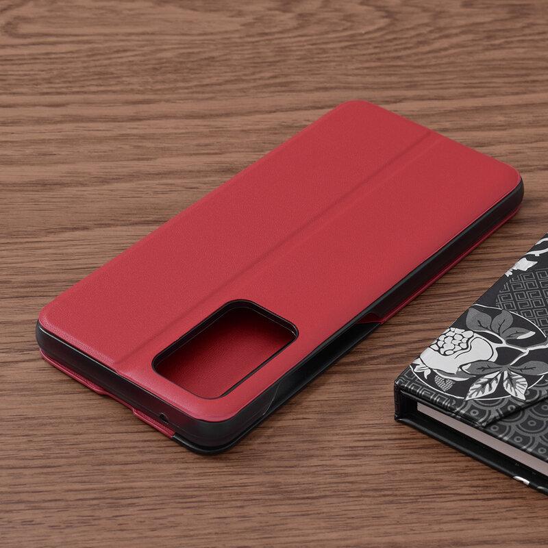 Husa Samsung Galaxy A72 5G Eco Leather View Flip Tip Carte - Rosu