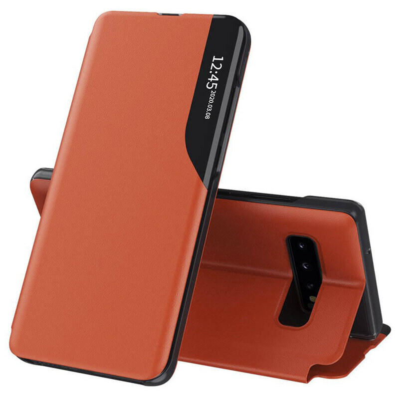 Husa Samsung Galaxy S10 Eco Leather View Flip Tip Carte - Portocaliu