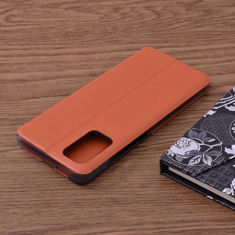 Husa Samsung Galaxy S20 Plus 5G Eco Leather View Flip Tip Carte - Portocaliu