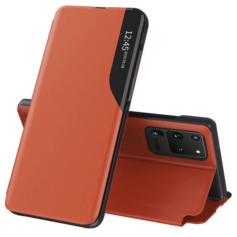Husa Samsung Galaxy S20 Ultra 5G Eco Leather View Flip Tip Carte - Portocaliu