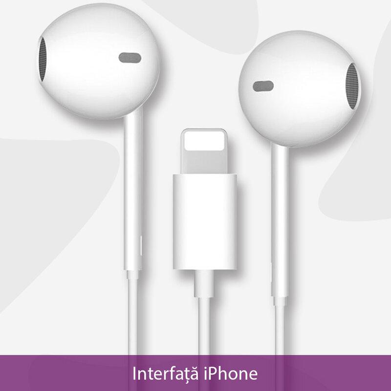 Casti cu fir in-ear Yesido YH28, stereo, microfon, Lightning, 1.2m, alb
