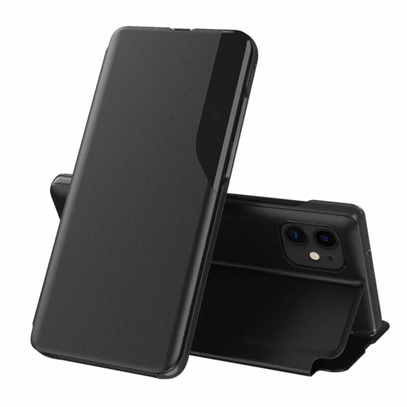 Husa iPhone 12 Eco Leather View Flip Tip Carte - Negru