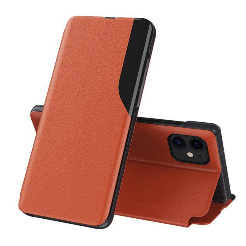 Husa iPhone 12 Eco Leather View Flip Tip Carte - Portocaliu