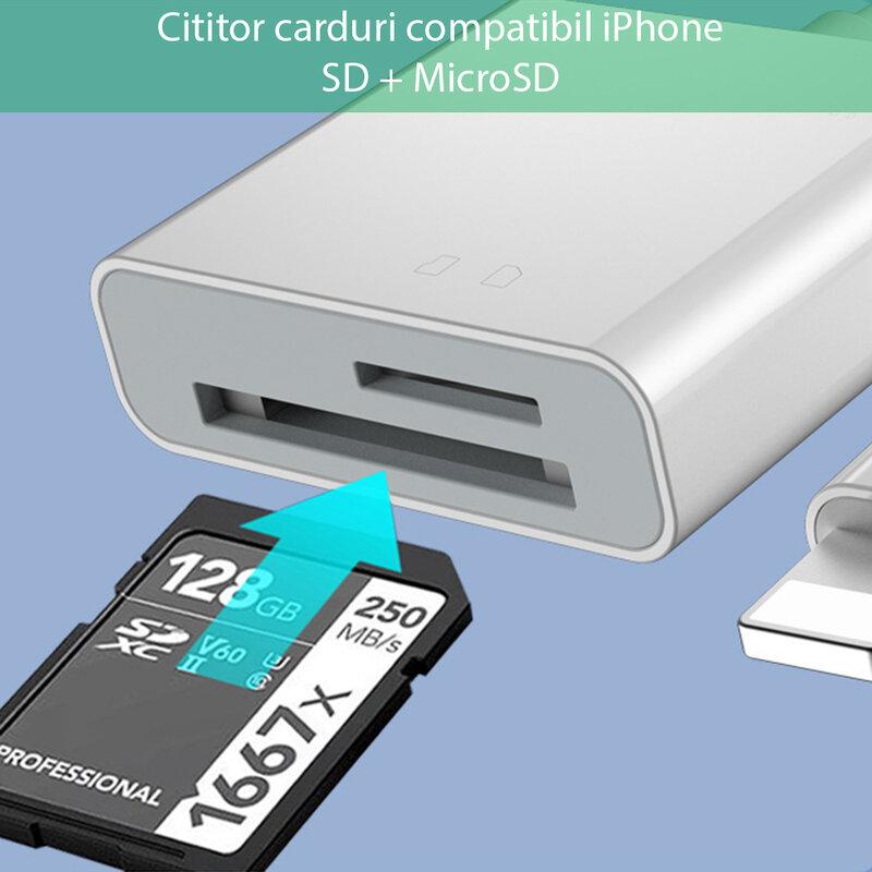 Adaptor iPhone, card reader SD, MicroSD Yesido GS11, plug & play, alb