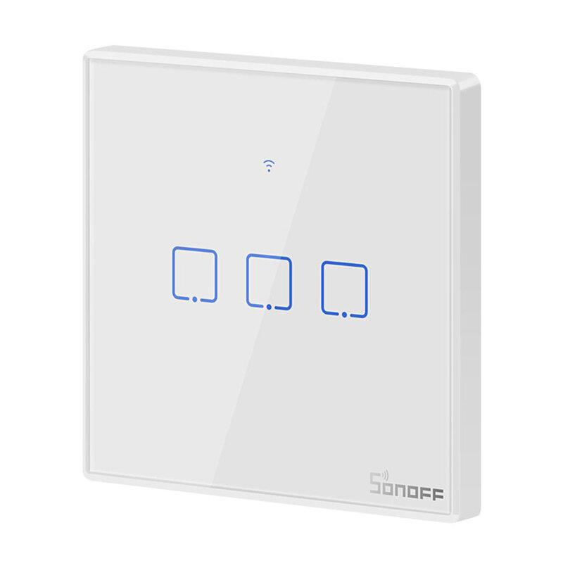 Intrerupator smart touch Wi-Fi triplu Sonoff T2, wireless, RF 433 MHz, alb