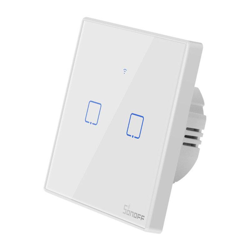Intrerupator smart touch Wi-Fi dublu Sonoff T2, wireless, RF 433 MHz, alb