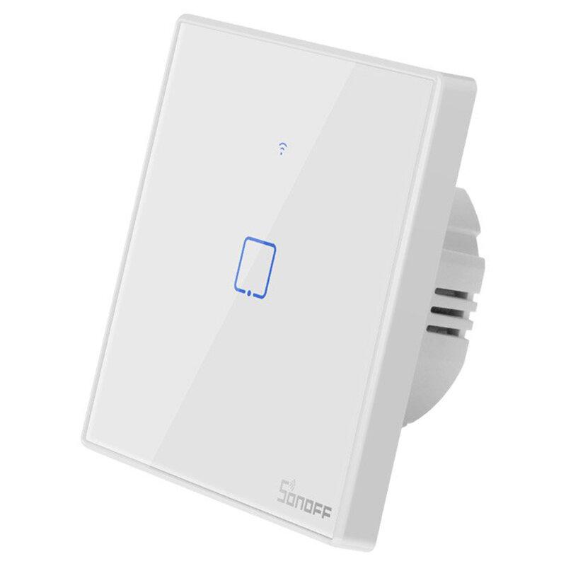 Intrerupator smart touch Wi-Fi simplu Sonoff T2, wireless, RF 433 MHz, alb
