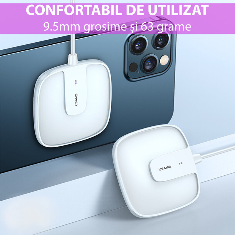 Incarcator wireless iPhone 12 MagSafe USAMS W1, 15W, alb, US-CD159