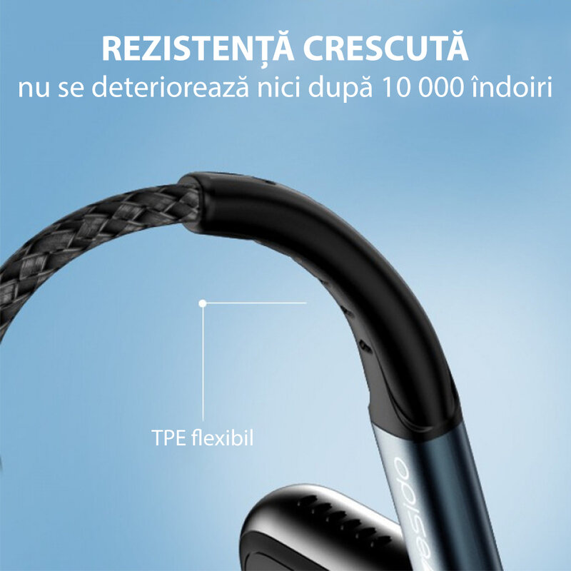Cablu de date USB la Lightning Yesido CA62, 2.4A, 1.2m, negru