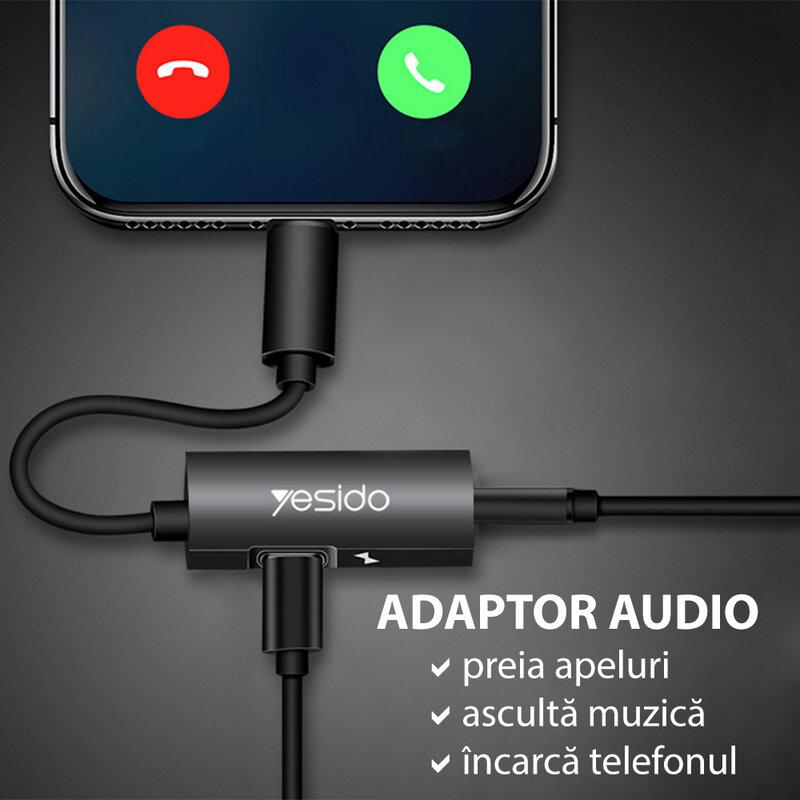 Adaptor audio DAC iPhone, Lightning la Jack + Lightning Yesido YAU11, negru