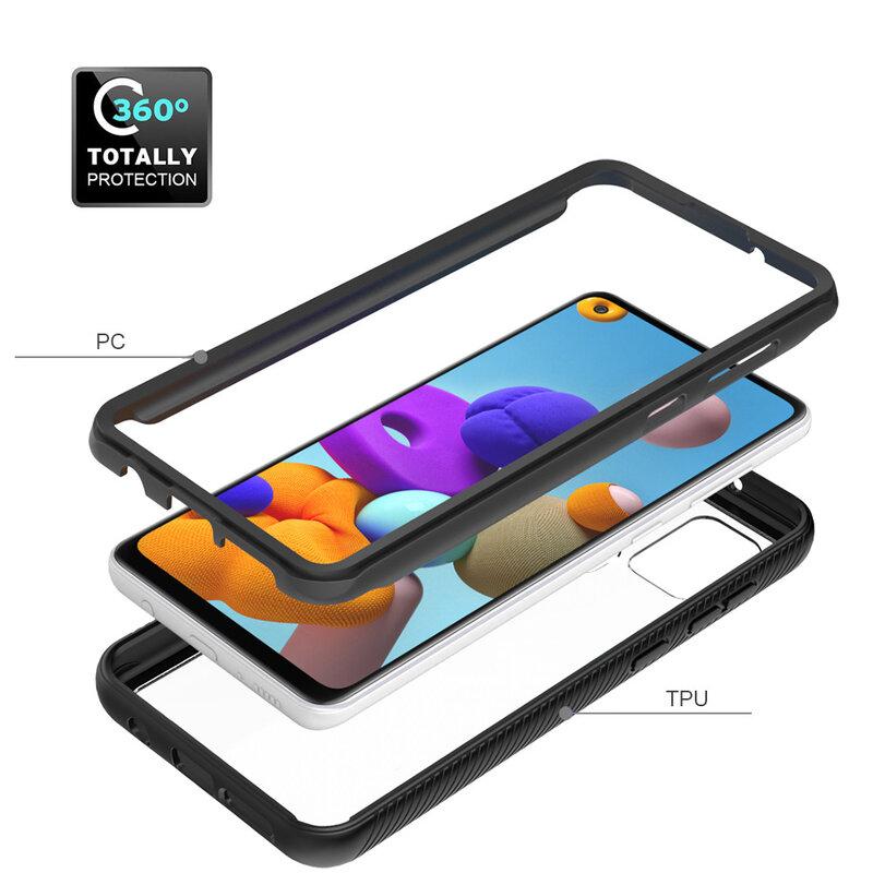 [Pachet 360°] Husa + Folie Samsung Galaxy A21s Techsuit Defense, negru