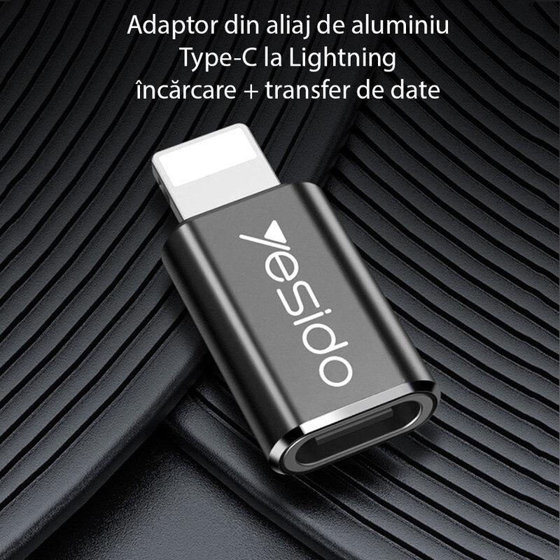 Adaptor Type-C la Lightning OTG Yesido GS03, plug & play, 480Mbps, negru