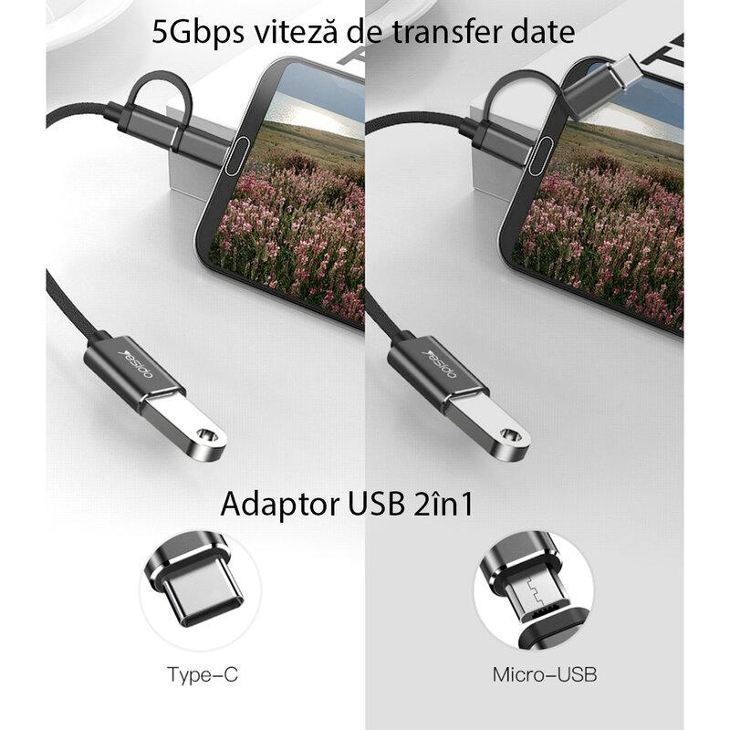 Adaptor USB OTG la Micro-USB + Type-C Yesido GS02, plug & play, negru