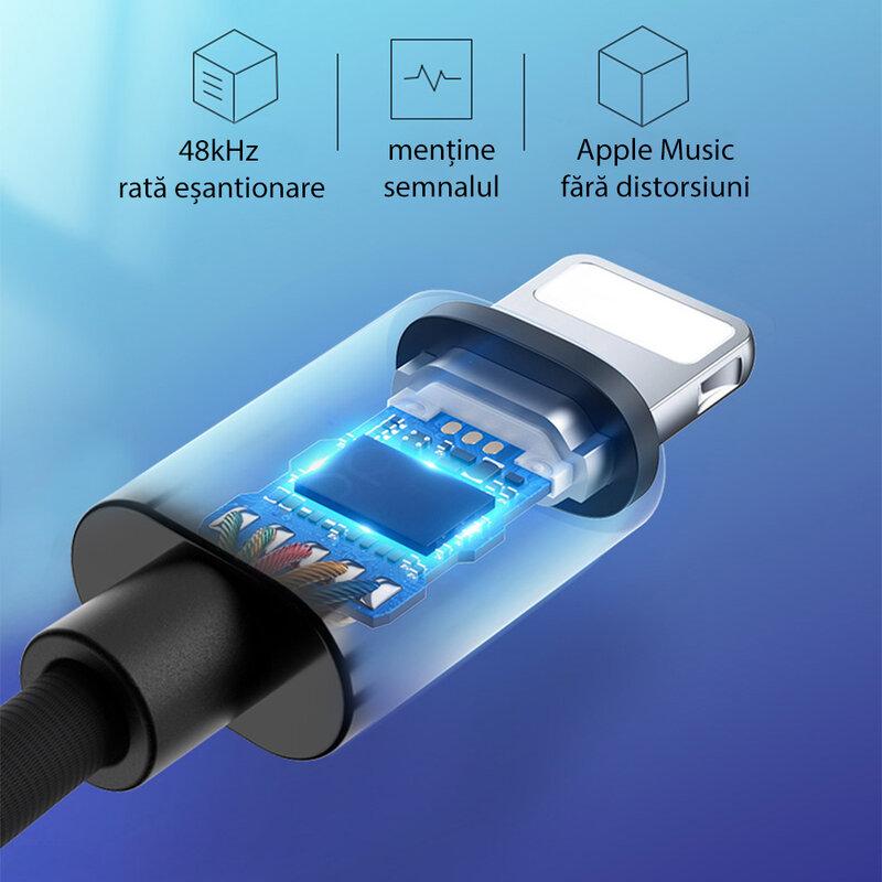 Adaptor audio iPhone la Jack 3.5mm Yesido YAU17, negru