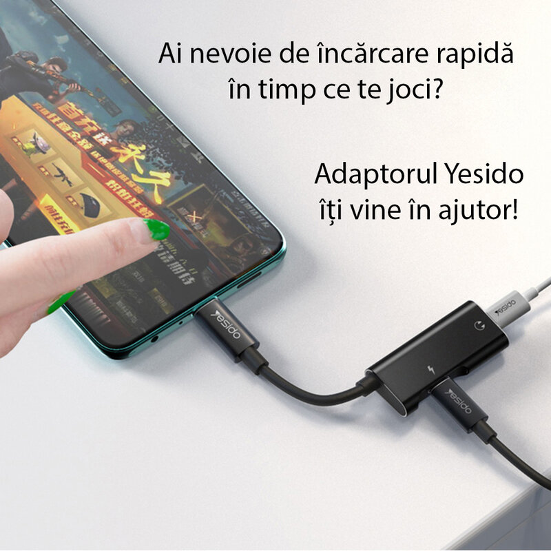 Adaptor audio DAC USB-C la 2x Type-C Yesido YAU23, 60W, negru