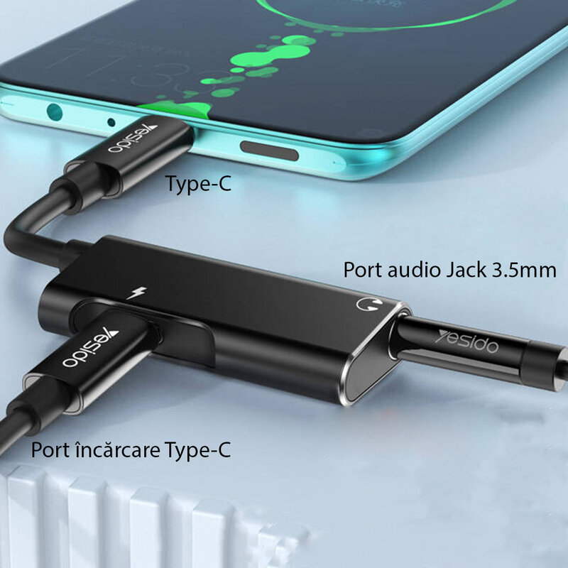 Adaptor audio DAC USB-C la Jack 3.5mm + Type-C Yesido YAU22, negru