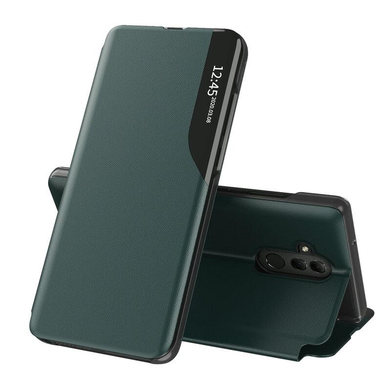 Husa Huawei Mate 20 Lite Eco Leather View Flip Tip Carte - Verde