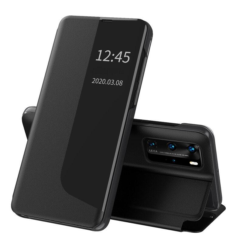 Husa Huawei P40 Pro Eco Leather View Flip Tip Carte - Negru