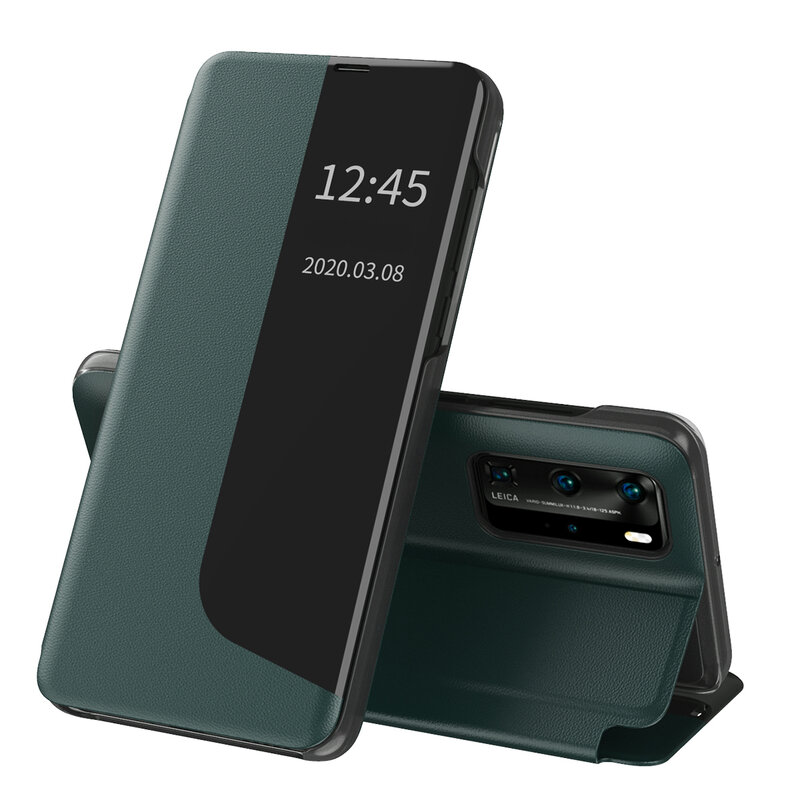 Husa Huawei P40 Pro Eco Leather View Flip Tip Carte - Verde