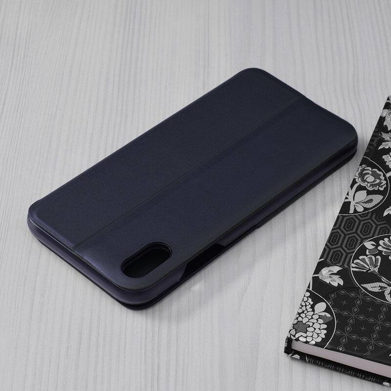 Husa iPhone XS Max Eco Leather View Flip Tip Carte - Albastru