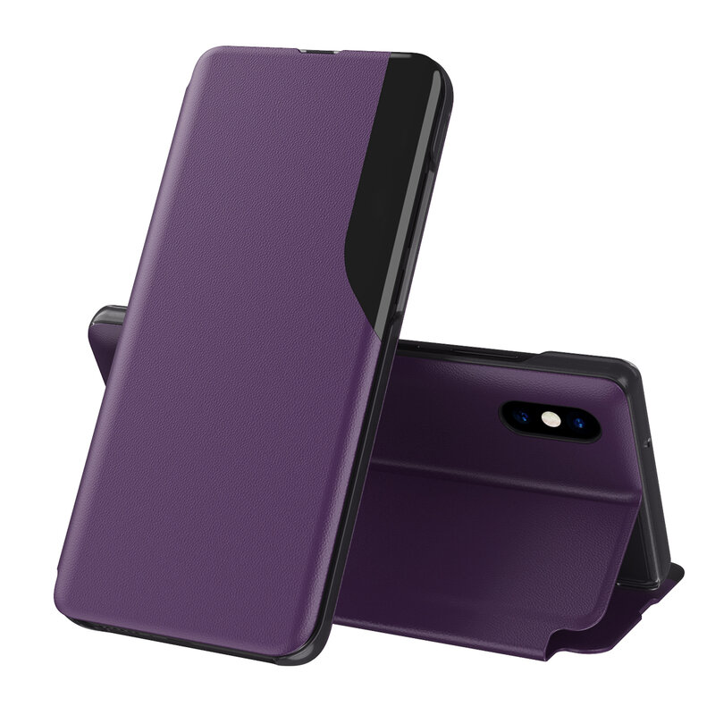 Husa iPhone XS Max Eco Leather View Flip Tip Carte - Mov