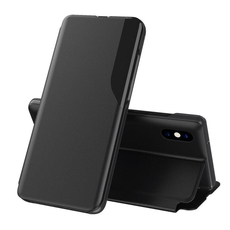 Husa iPhone XS Max Eco Leather View Flip Tip Carte - Negru
