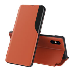 Husa iPhone XS Max Eco Leather View Flip Tip Carte - Portocaliu