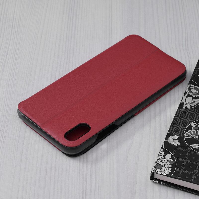 Husa iPhone XS Max Eco Leather View Flip Tip Carte - Rosu