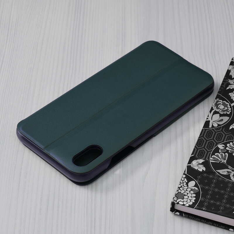 Husa iPhone XS Eco Leather View Flip Tip Carte - Verde