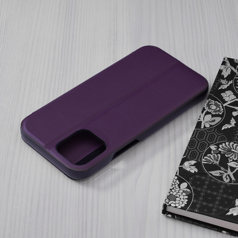 Husa iPhone 12 Eco Leather View Flip Tip Carte - Mov