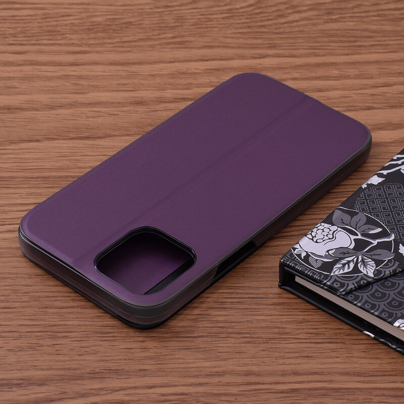 Husa iPhone 12 Pro Max Eco Leather View Flip Tip Carte - Mov