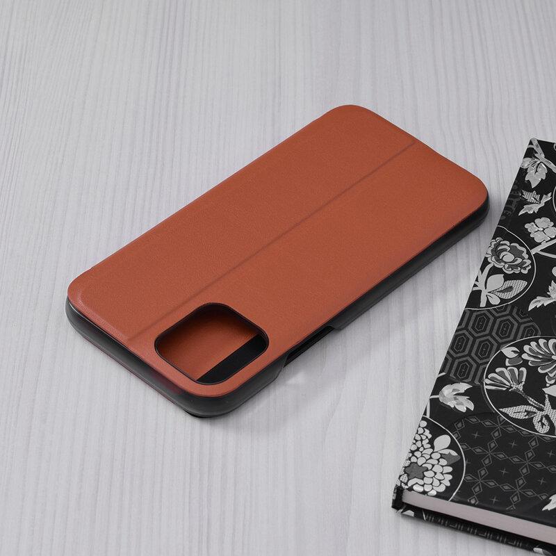 Husa iPhone 11 Pro Eco Leather View Flip Tip Carte - Portocaliu