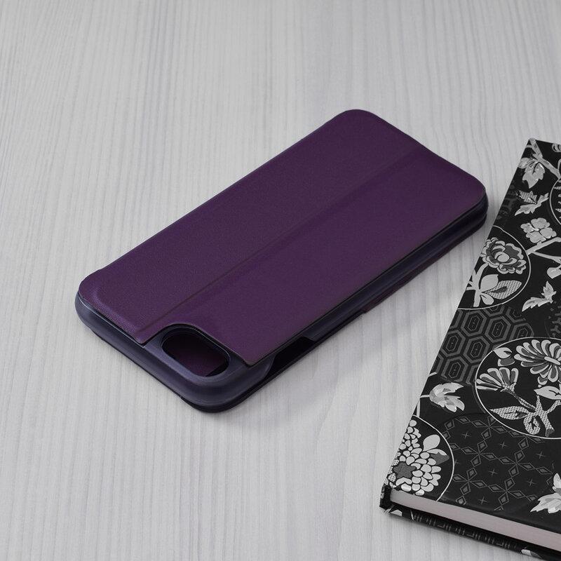 Husa iPhone SE 2, SE 2020 Eco Leather View Flip Tip Carte - Mov