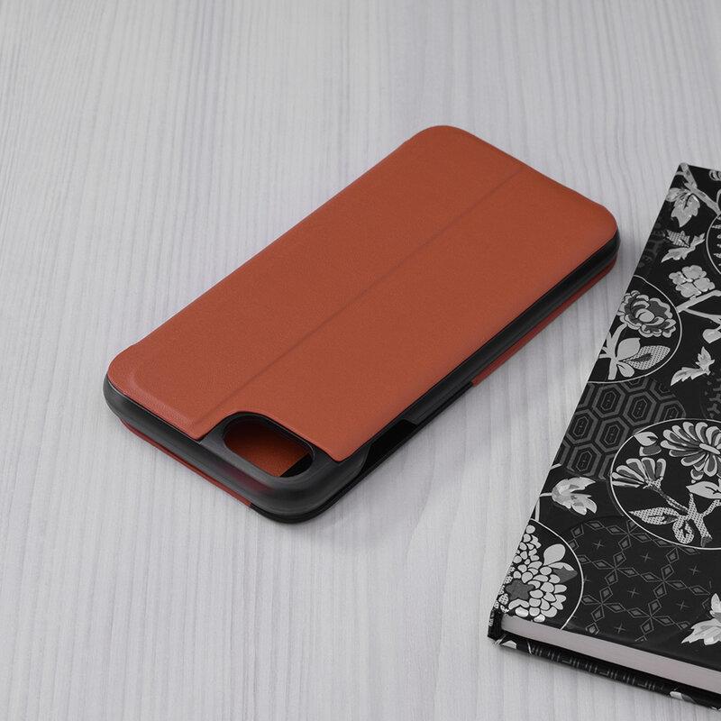 Husa iPhone SE 2, SE 2020 Eco Leather View Flip Tip Carte - Portocaliu